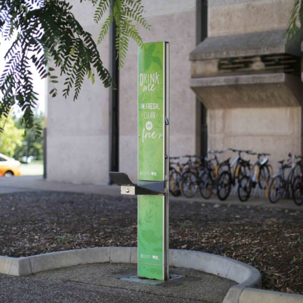A Green colored Drinking Fountain installed at University of Queensland