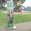 FlexiFountain 1200B Portable drinking fountain with water refill station caption on the signage panel installed in a park