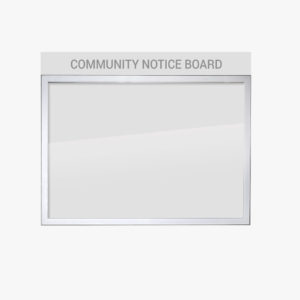 Wall Mounted Community Notice Board with Header Panel FlexiDisplay ClipLok