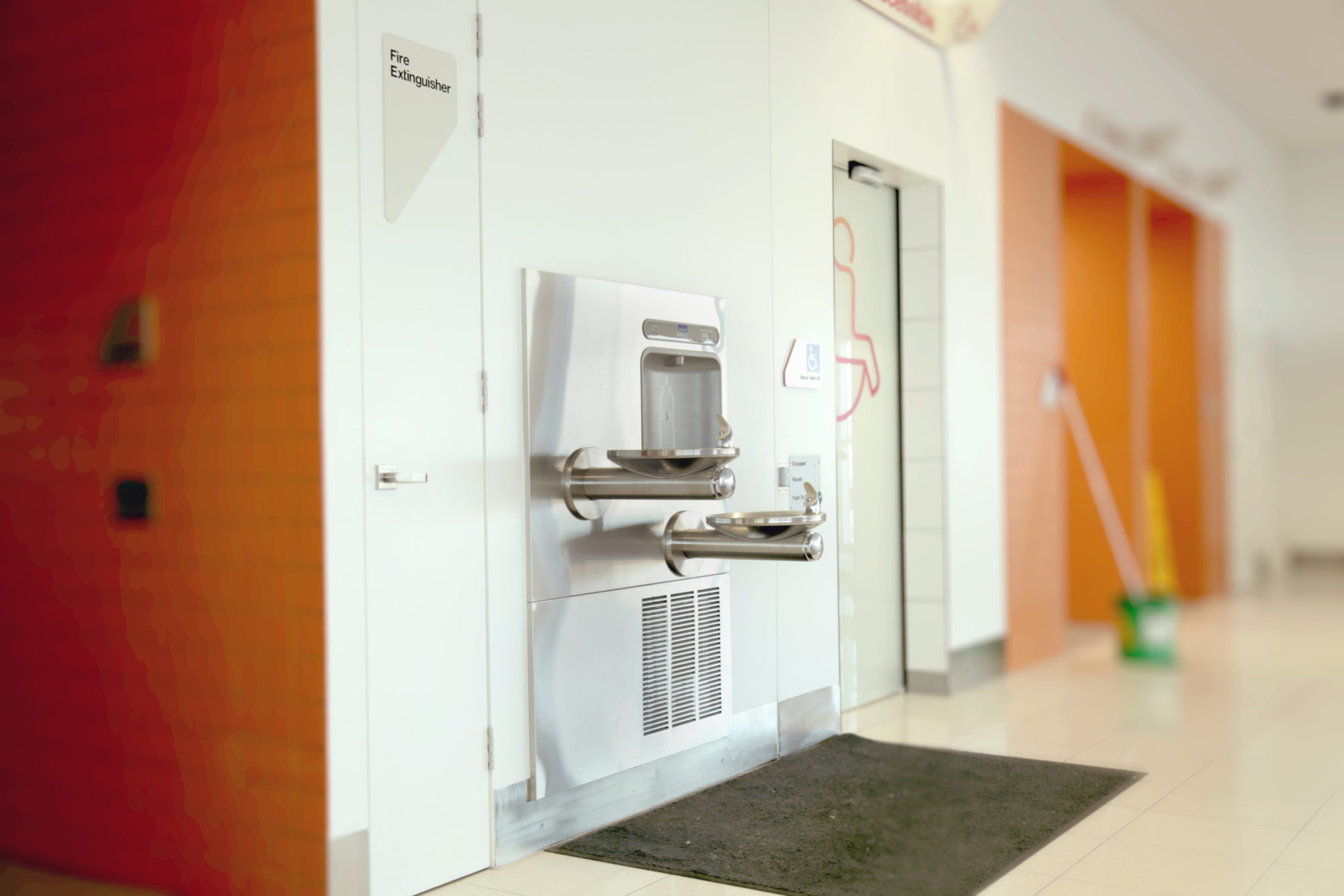 Premium Elkay SwirlFlo Bi-level EZH2O Drinking Fountain and Water Refilling Station Installed in Adelaide Airport