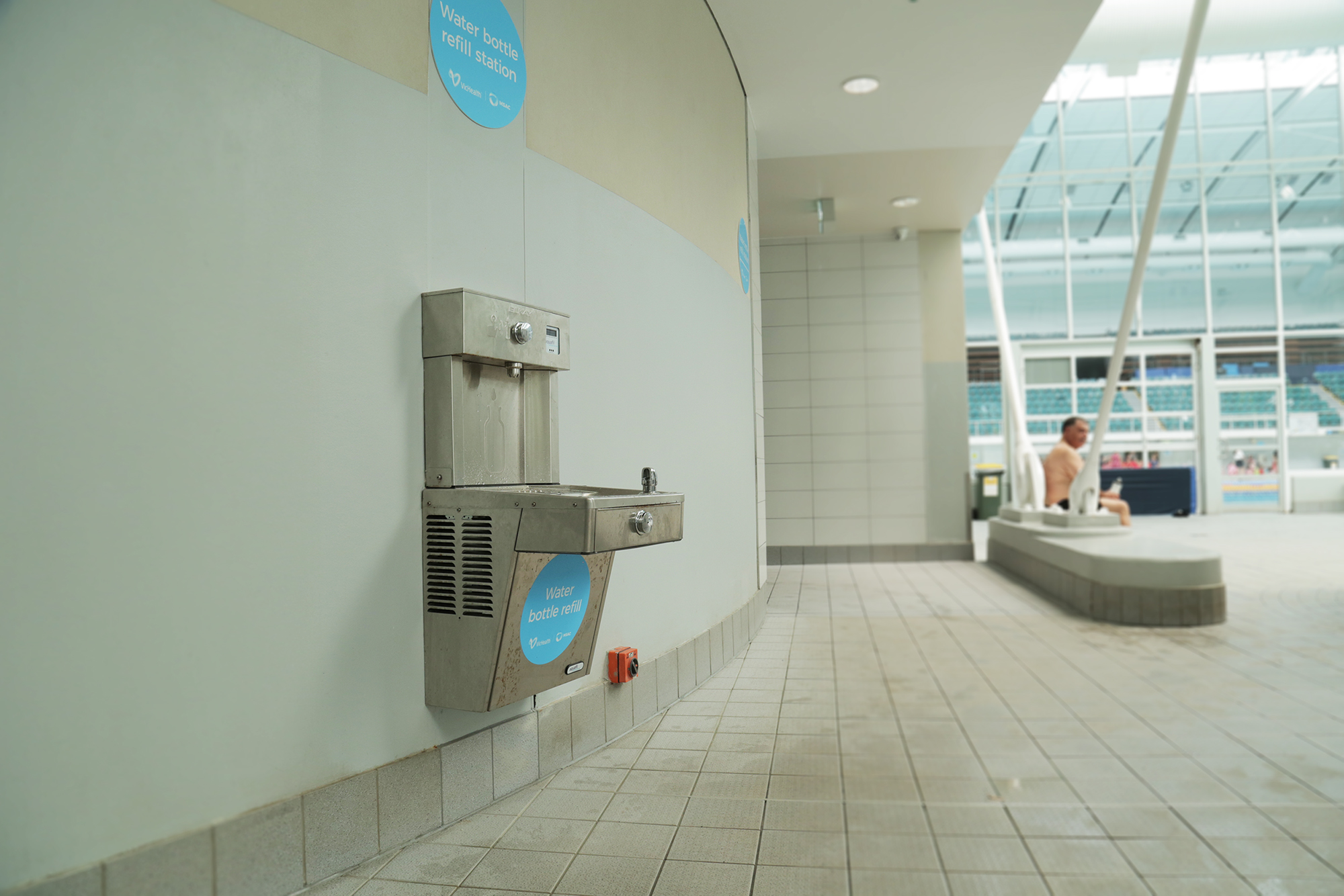 The Elkay EZH2O bottle refill station and drinking fountain installed at Melbourne Sports and Aquatic centre in the pool area