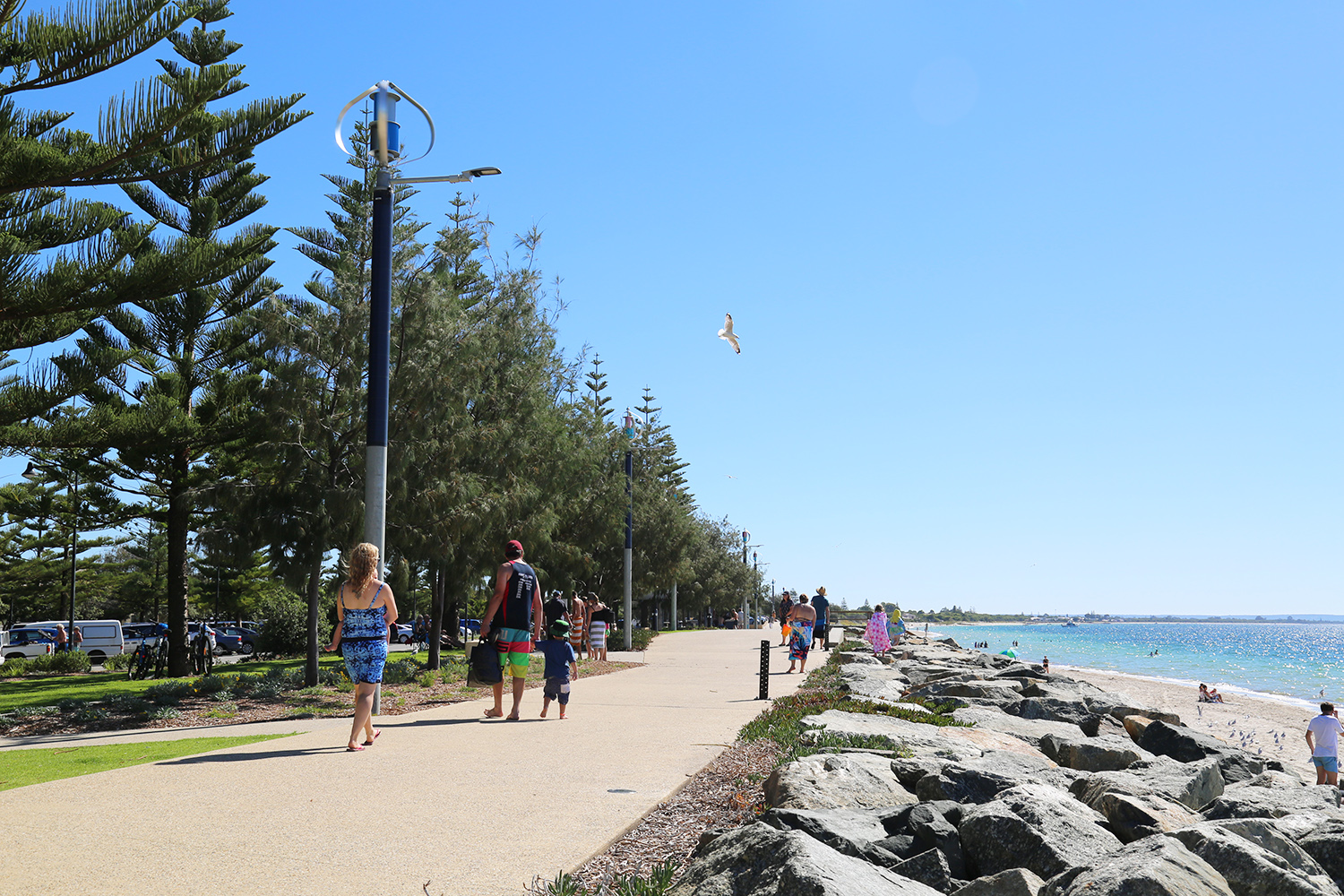 A view of people walking on the Busselton foreshore
