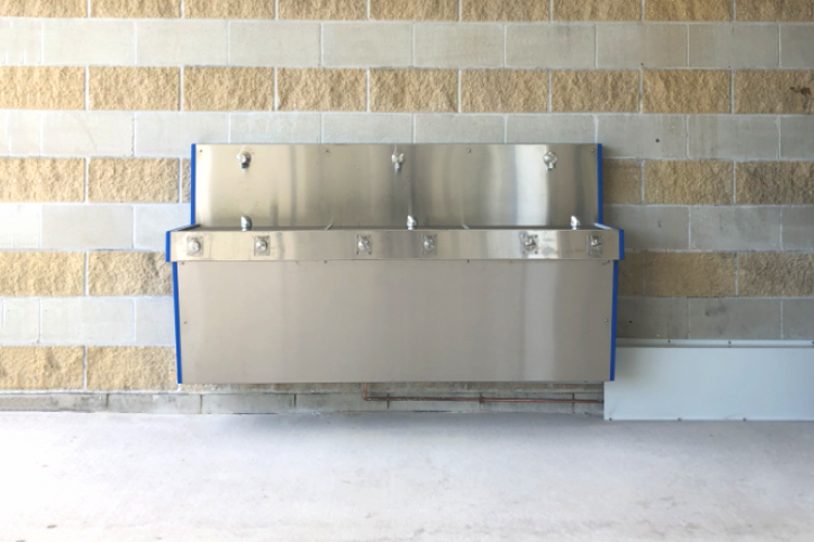 Front View of The Aqaufil Hydrobank wall mounted drinking fountain that is Installed at Caloundra Indoor Stadium