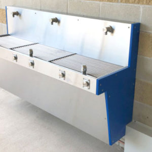 Aquafil Hydrobank triple nozzle wall mounted drinking fountain & bottle refill station Installed at Caloundra Indoor Stadium