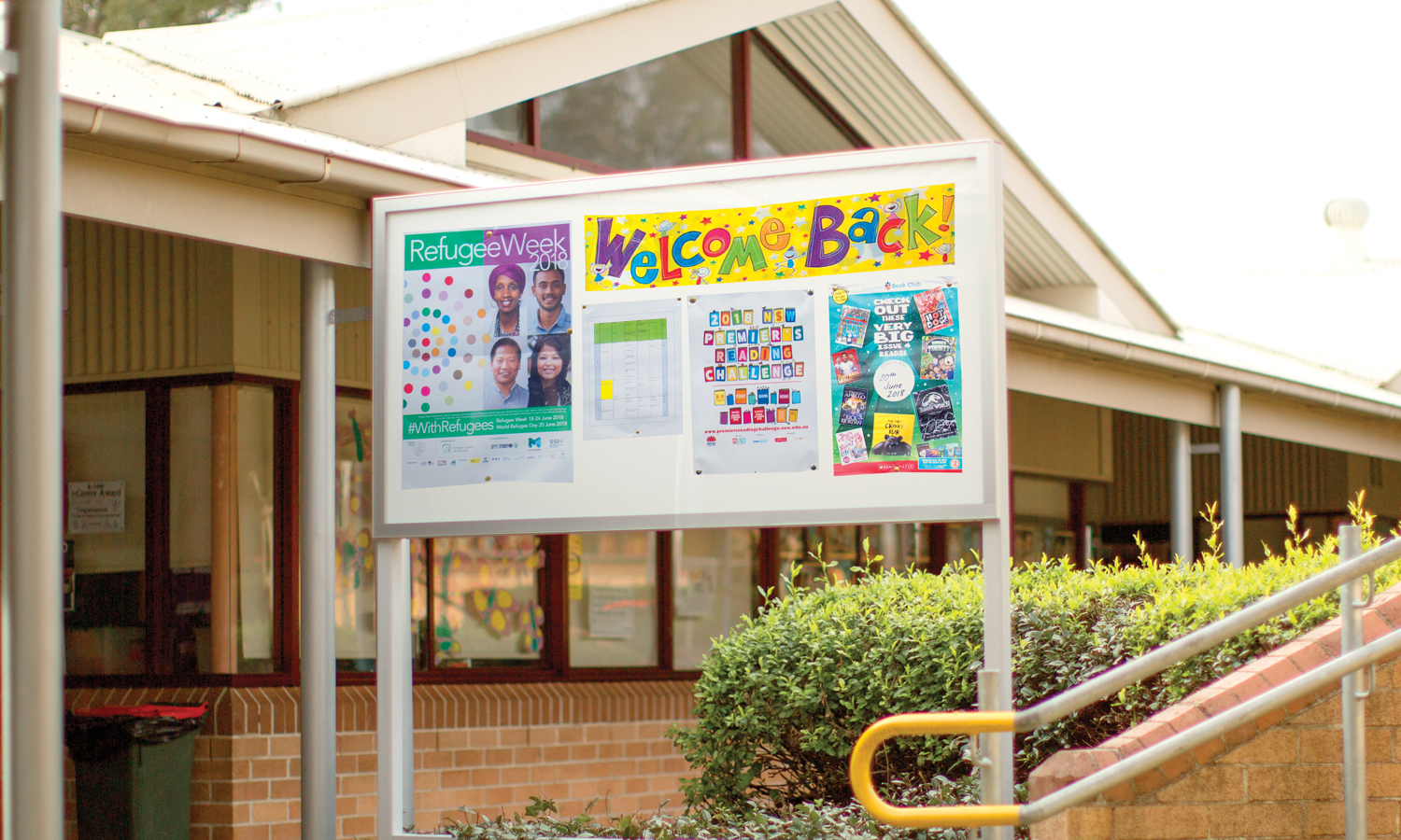 Premium clip-lockable notice boards at James Erskine Public School with details welcoming the students