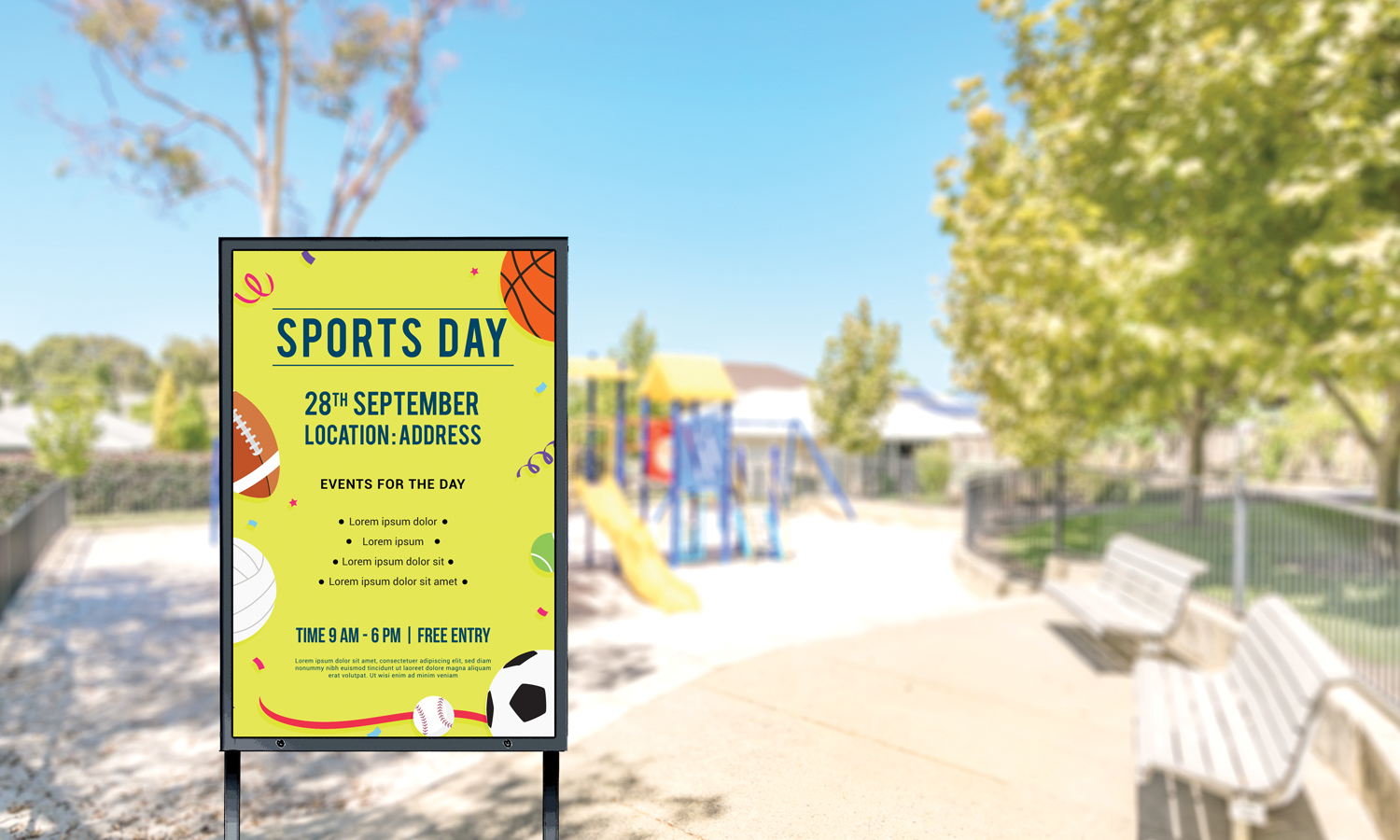 CIVIQ notice board with details about the sports day event that will happen on 28th of September at 9 am to 6 pm in the playground