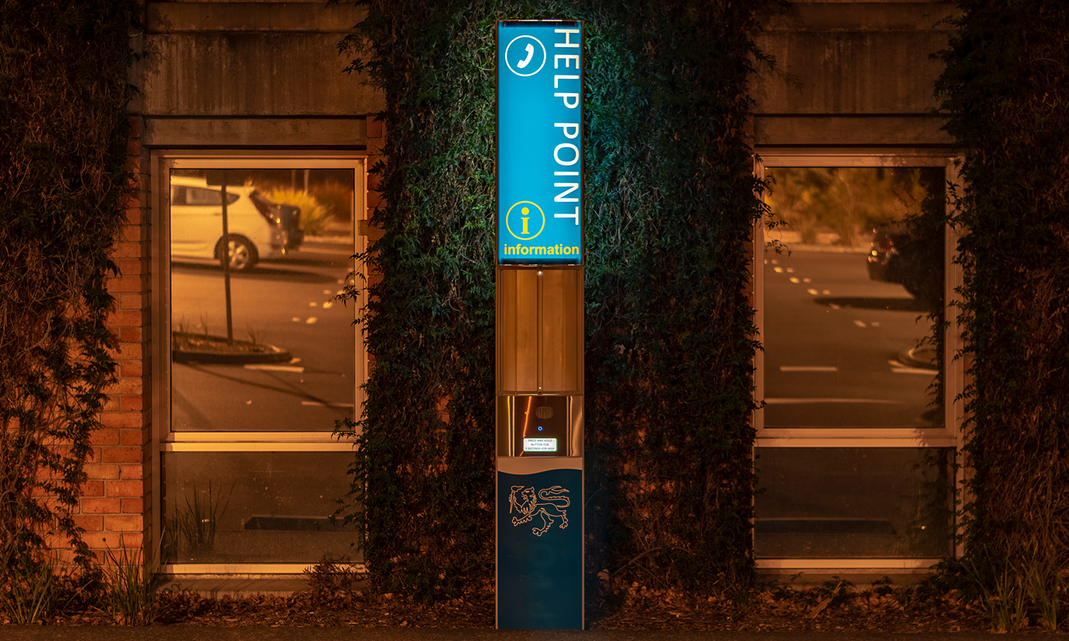 2100mm illuminated information help point located at University of Tasmania