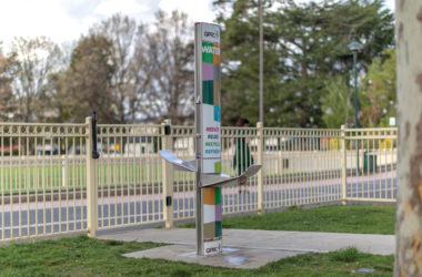 A drinking fountain and water refilling station installed in one of busiest park in Canberra, Australian Capital Territory