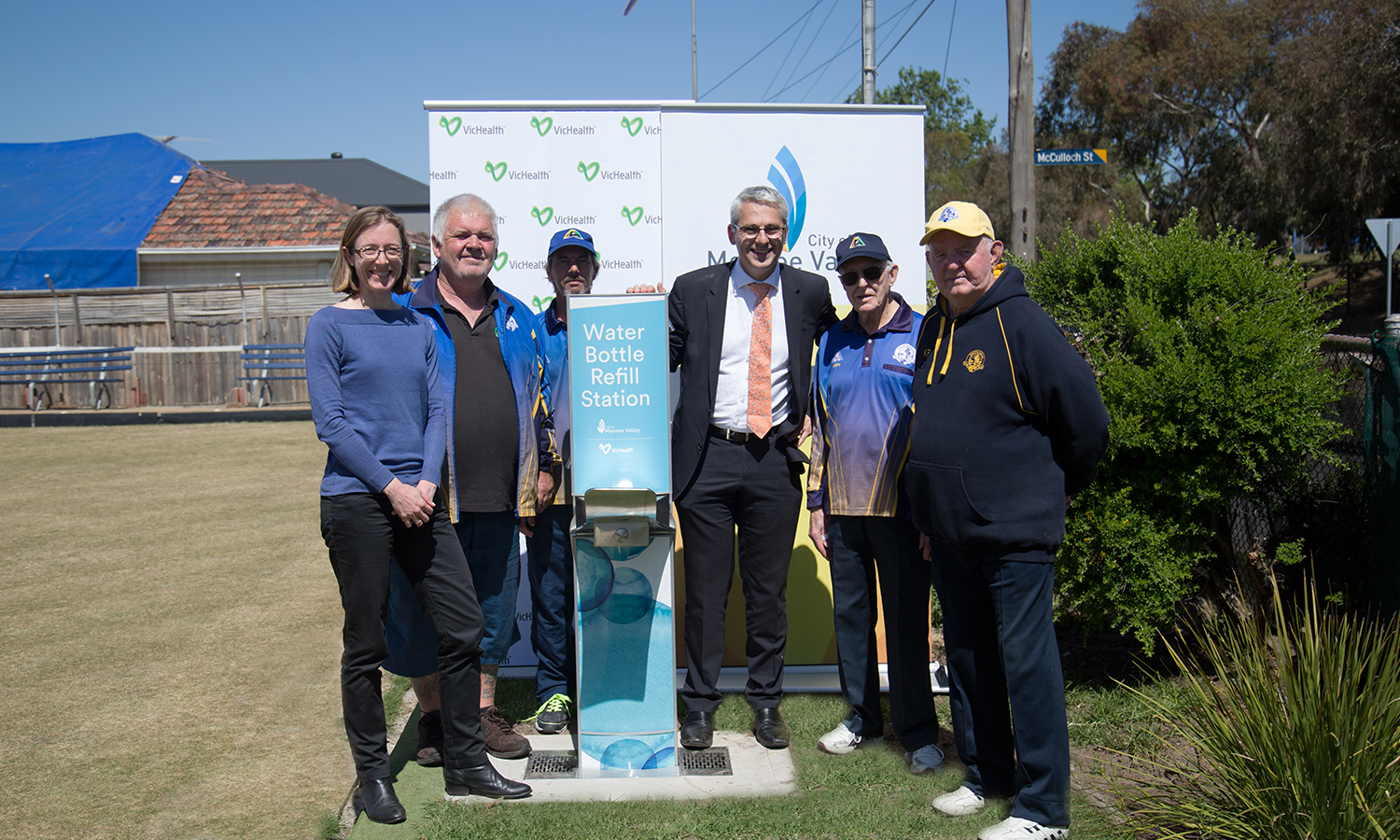 Moonee Valley locals pictured next to a Drinking Fountain and Bottle Refill Station