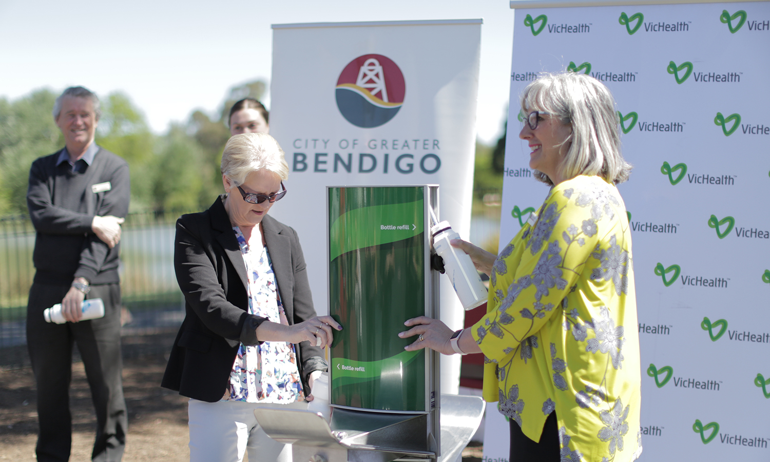Greater Bendigo West Member Maree Edwards filling up her bottle on the Dual Height Drinking Fountain and Water Filling Station