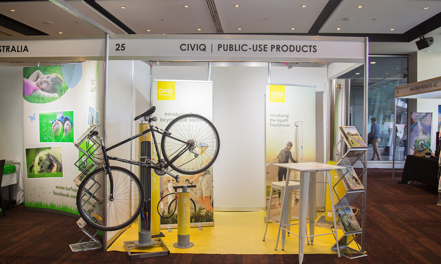 CIVIQ stand at the Parks & Leisure Australia Congress Exhibiting New Outdoor Shower and Bike Repair Products
