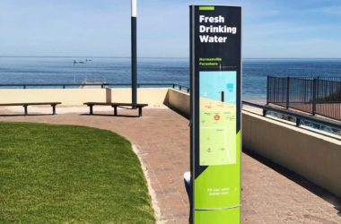 Drinking Water Fountain with artwork displaying text Fresh Drinking Water Installed on Normanville foreshore