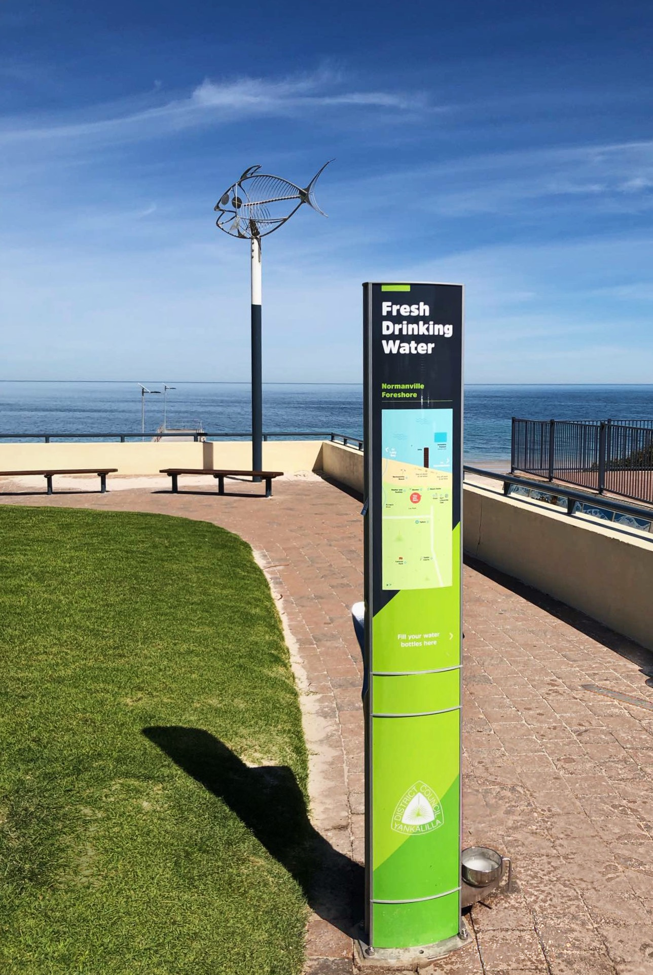 Drinking Water Fountain with Dog Drinking Bowl Installed on Normanville foreshore