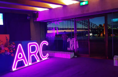 Arc Night Event Sign at Sydney Opera House