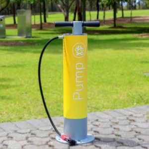 Cycla Bike Air Pump with waterproof Gauge with Durable Safe Anti Slip Rubber Hand Grips in yellow finish.
