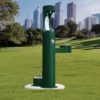 Elkay Outdoor EZH2O Drinking Fountain and Water Bottle Filling Station with Pet Water Station in evergreen Powder-coated finish