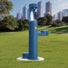 Elkay Outdoor EZH2O Drinking Fountain and Water Bottle Filling Station with Pet Water Station in blue Powder-coated finish
