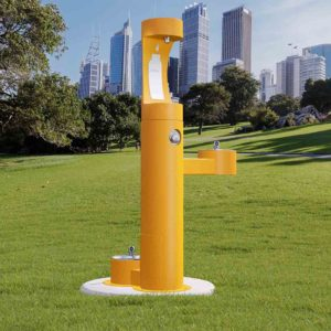 Elkay Outdoor EZH2O Drinking Fountain and Water Bottle Filling Station with Pet Water Station in yellow Powder-coated finish