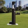 Elkay Outdoor EZH2O Drinking Fountain and Water Bottle Filling Station with Pet Water Station in black Powder-coated finish