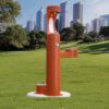 Elkay Outdoor EZH2O Drinking Fountain and Water Bottle Filling Station with Pet Water Station in Dark Orange Powder-coated finish