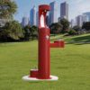 Elkay Outdoor EZH2O Drinking Fountain and Water Bottle Filling Station with Pet Water Station in Red Powder-coated finish