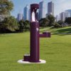 Elkay Outdoor EZH2O Drinking Fountain and Water Bottle Filling Station with Pet Water Station in purple Powder-coated finish