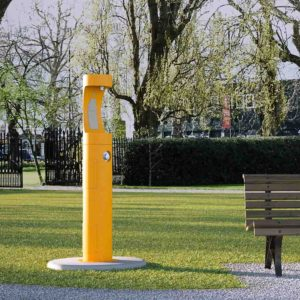 Elkay Outdoor EZH2O Water Bottle Refilling Station in a yellow Powder-coated finish