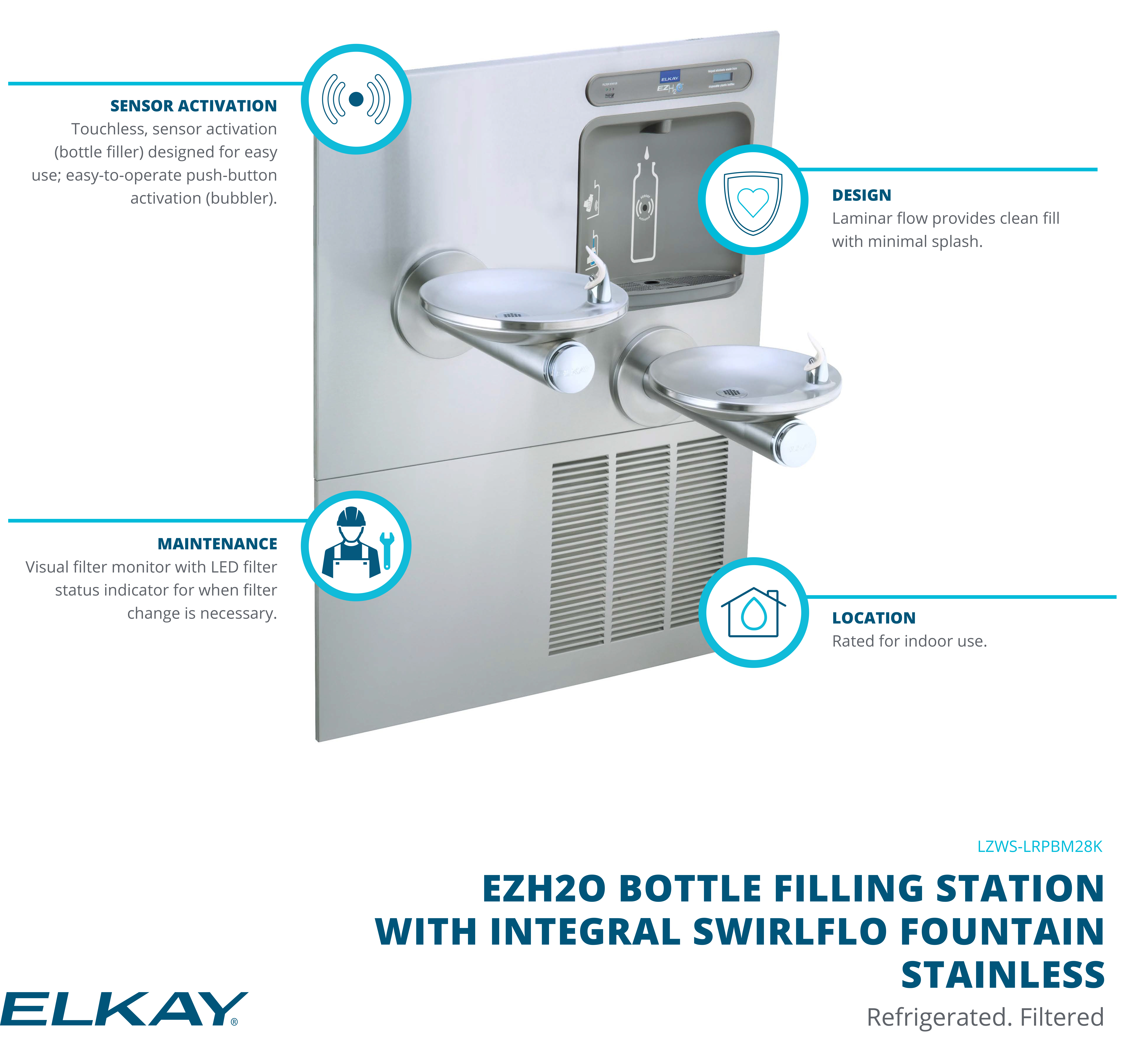 Elkay SwirlFlo Bi-level Fountain with Integral EZH2O Bottle Filling Station Main Product Features