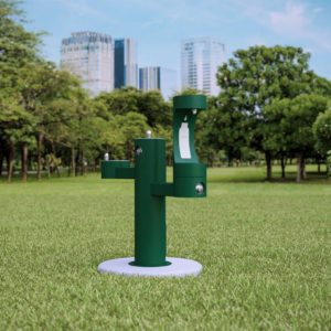 Elkay Outdoor EZH2O Drinking Fountain and Water Bottle Filling Station in a green Powder-coated finish
