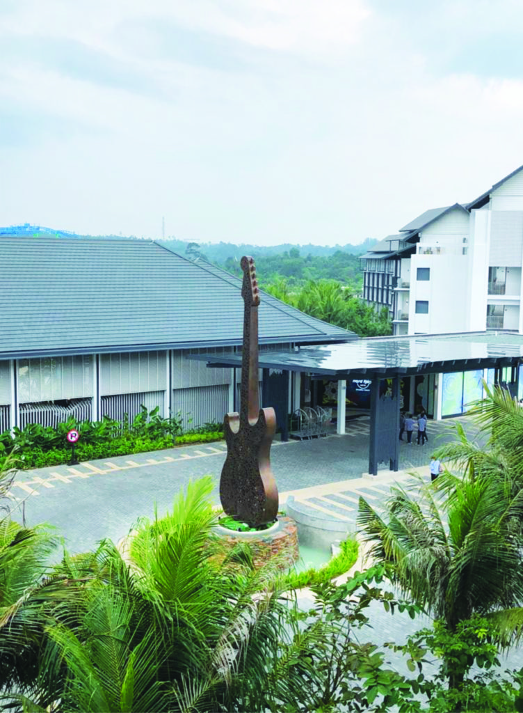 Huge gold guitar statue placed on the entrance of Hard Rock Hotel in Desaru Coast Malaysia