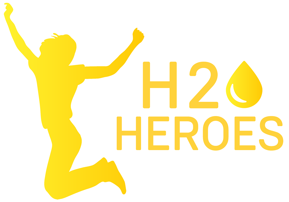 yellow silhouette of a man jumping with H2O Heroes caption