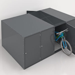 Top view of a bike stored in a gray double sided horizontal multibank Bike Locker