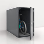 A Bicycle stored in a gray solo single sided horizontal Bike Locker