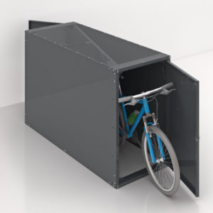 a bike stored in a gray double sided solo horizontal Bike Locker