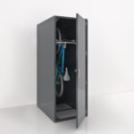 A Bicycle stored in a gray Solo and singe sided vertical bike locker