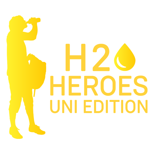 yellow silhouette of a man with H2O Heroes caption