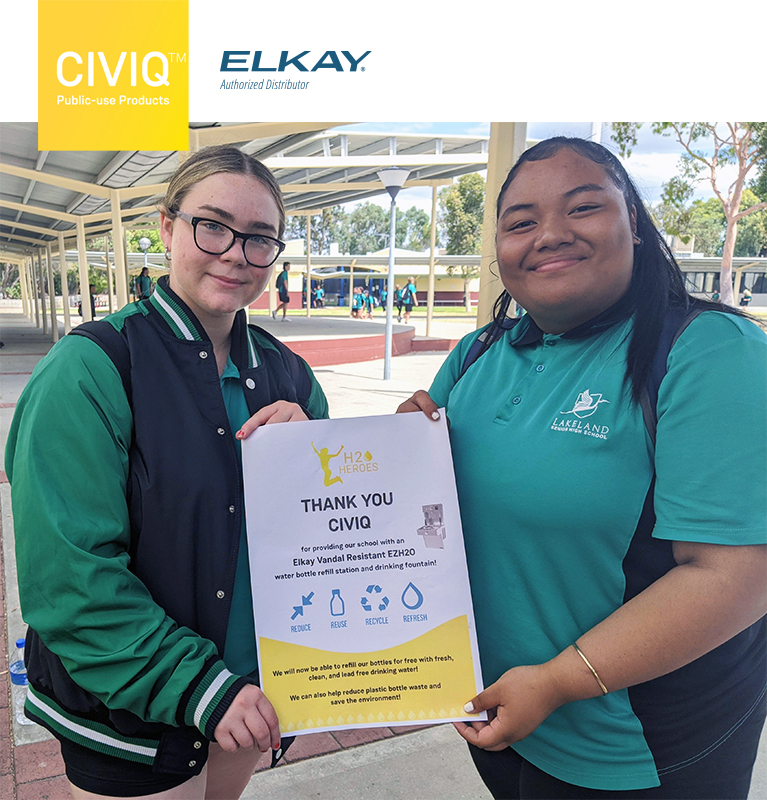 two girls from Lakeland Senior High School holding CIVIQ banner as of our H2O Heroes Competition Winners