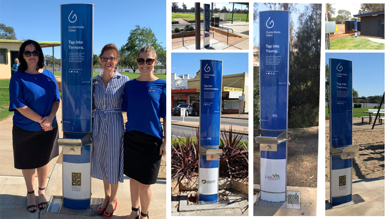 Three women standing near CIVIQ Aquafil FlexiFountain Drinking Water Stations installed by Goldenfields Water in Temora Council and list of Drinking Fountains in other locations