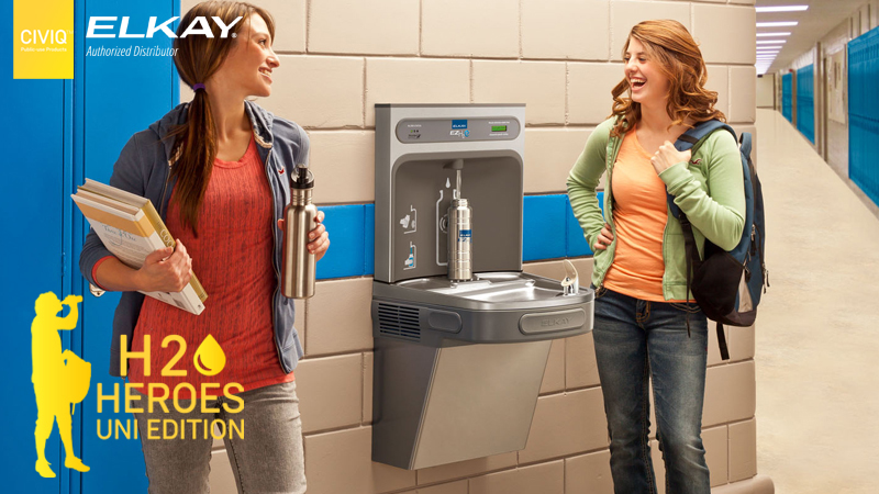 two female students refilling their water bottle on EZH2O Drinking Water Stations, the price for CIVIQ and Elkay H2O HEROES Competition