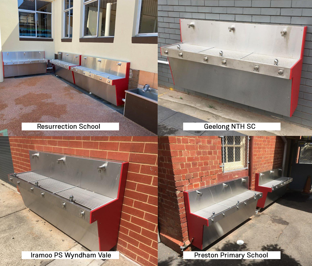 New installed Aquafil Hydrobank from Resurrection School, Geelong NTH SC, Iramoo PS Wyndham Vale and Preston Primary School replacing old drinking troughs.