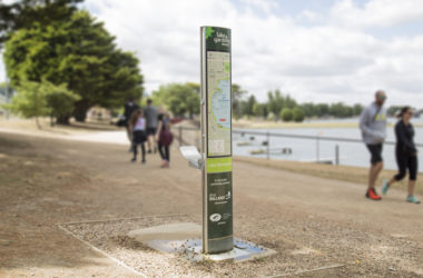 a drinking water stations with wayfinding signage installed in a park as CIVIQ and Choose Tap work together to eliminate plastic waste