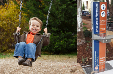 a child enjoying in a swing a park with Aqaufil Drinking Water Stations