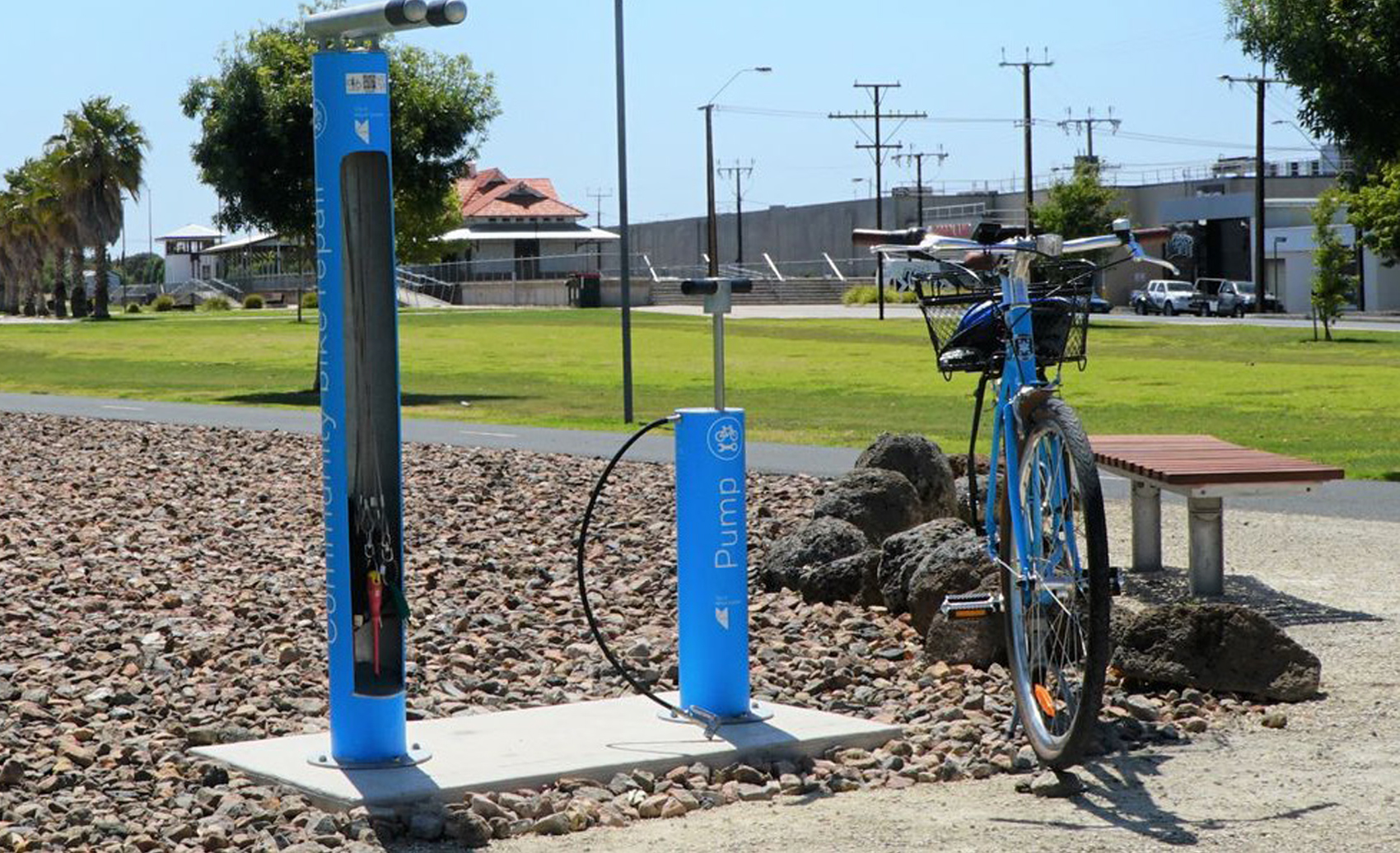 Cycla Fixit Maintenance and Repair Station with Bike Air Pump installed at Mount Gambier Rail Trail