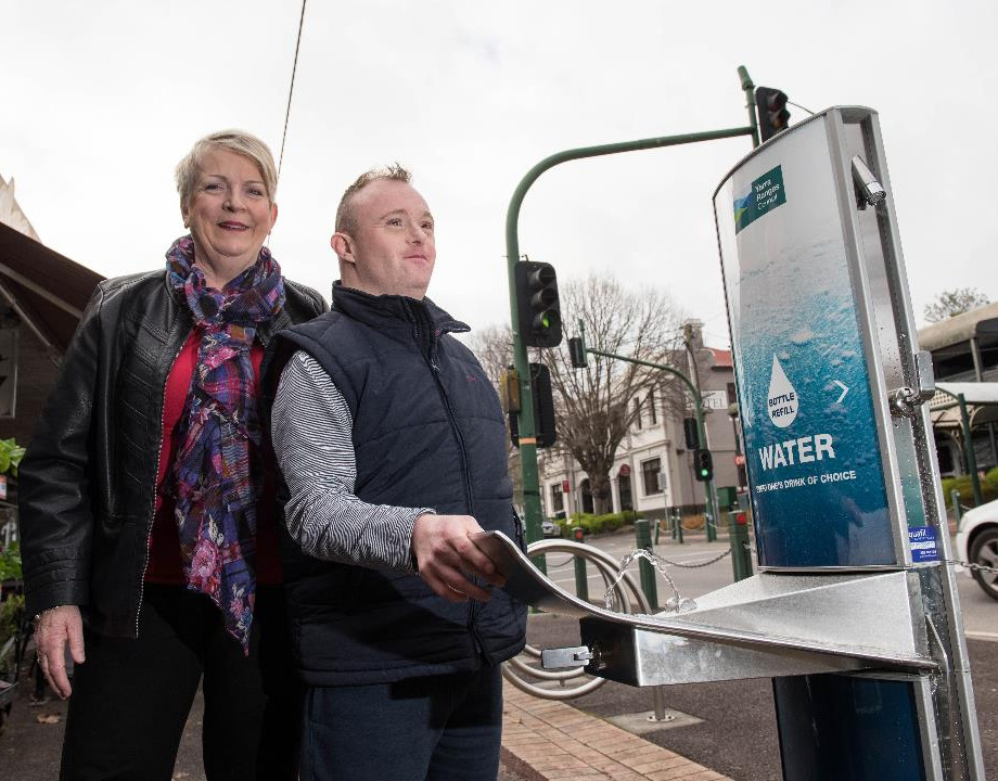 Anthea Forbes and his son Adams, using the new Aquafil Drinking Fountain installed at Yarra Ranges.