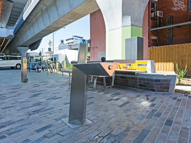 Front view of CIVIQ's Aquafil Drinking Fountain installed at Djeering Trail in Victoria