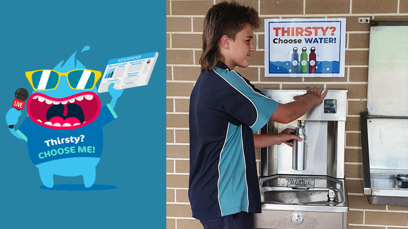 Thirsty choose water logo and a student filling up his bottle in one of Kariong Mountains High School drinking water stations